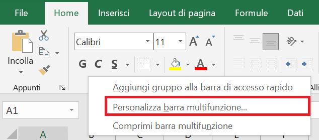 Personalizza barra multifunzione