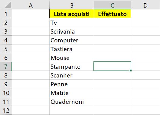 Elenco Excel con prodotti in colonna