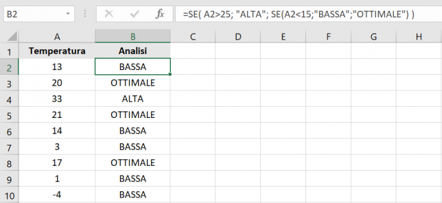 Due SE nidificati su Excel
