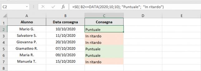 Formula per il controllo della data