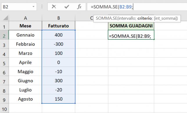Il primo parametro della formula SOMMA.SE